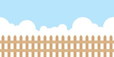 répéter l'arrière-plan, design plat thème de clôture en bois paysage vecteur