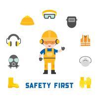sécurité industrielle et équipement de protection pour travailleur vecteur