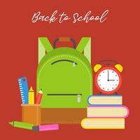 sac d'école icône et fournitures scolaires, design plat retour au thème de l'école