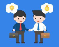 Deux hommes d'affaires font un contrat entre idée et argent vecteur