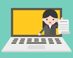 Femme d'affaires dans un écran d'ordinateur portable, envoi de document, concept de travail en ligne vecteur
