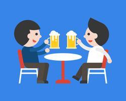 Deux, homme affaires, boire bière, ensemble, reste, après, travail vecteur
