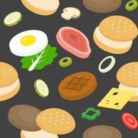 Pain à hamburger et ingrédient tels que viande, jambon, piquant, tomate vecteur
