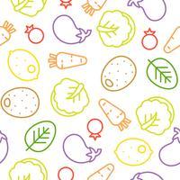 Modèle sans couture de ligne de légumes coloré, chou chinois, aubergines, citron vecteur