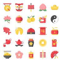 Nouvel an chinois icône plat mignon, 128 px sur le système de grille défini 1/2 vecteur