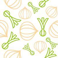 Oignons et oignons de printemps Ensemble de légumes contour modèle sans couture
