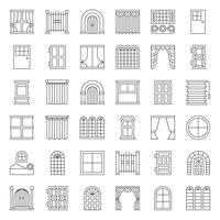 Jeu d'icônes de porte et fenêtre moderne et vintage, style de contour vecteur