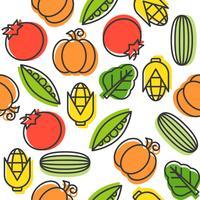 Modèle sans couture de légumes, concombre, tomates, maïs, pois et épinards, contour vecteur