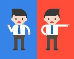 Homme d'affaires pointe à gauche et homme d'affaires pointe à droite, concept de conflit