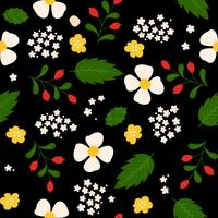 motif floral de transparente, design plat à utiliser comme arrière-plan, papier d'emballage ou papier peint vecteur
