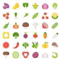 Jeu d'icônes de légumes 2/2, design plat vecteur
