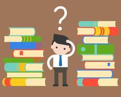 Homme d'affaires confondre entre pile de livres vecteur
