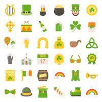 Fête de Saint Patrick set vector, icône plate