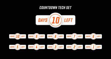 Nombre de jours de compte à rebours pour le nombre de jours de style de conception d'ordinateur moderne simple vecteur