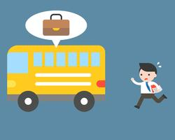 Homme d'affaires oublier un sac en bus vecteur