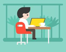 Homme d'affaires travaillant avec un ordinateur portable au café, design plat de concept d'espace de travail