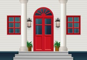 Porte rouge fermée vecteur