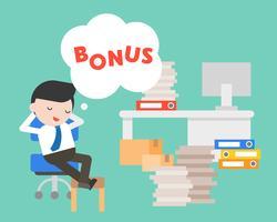 Journée d'homme d'affaires paresseux rêvant de bonus, concept d'entreprise vecteur