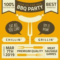 Vecteur d'affiche mignon barbecue rétro