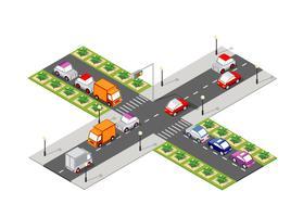 Route carrefour isométrique vecteur