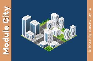 Gratte-ciel urbain isométrique vecteur