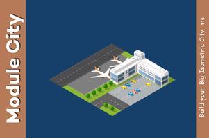 Ville isométrique 3D aéroport vecteur