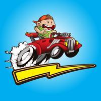 enfant mignon avec sa voiture de hot rods