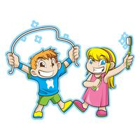 enfants mignons avec des soins dentaires vecteur