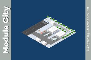 Aéroport isométrique d'hiver vecteur