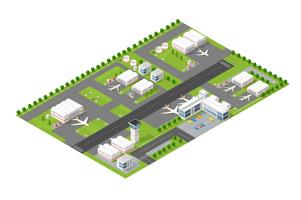 Aéroport de la ville isométrique vecteur