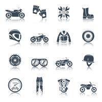 Ensemble d'icônes moto noir vecteur