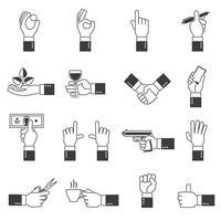 Ensemble d'icônes main noir vecteur