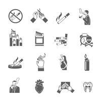 Ensemble d'icônes de fumer vecteur