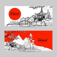 Jeu de bannière Japon vecteur