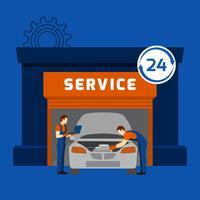 Bannière plate du centre de service de mécanicien automobile