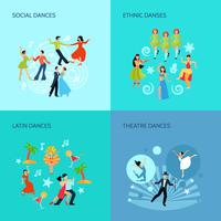 Styles de danse Flat Concept vecteur