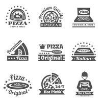 Ensemble d'étiquettes de pizzeria vecteur