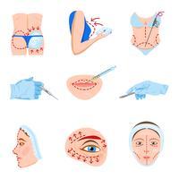 Jeu d'icônes plat de chirurgie plastique vecteur