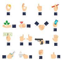 Icônes de main d'affaires plat vecteur