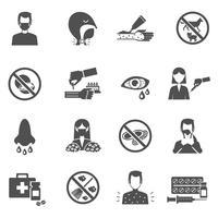 icônes d'allergie noir