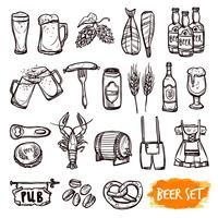 Jeu d'icônes de bière noire doodle vecteur