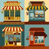 Ensemble de façades de magasins vecteur