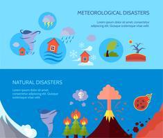 Catastrophe naturelle 2 composition de bannières plates vecteur