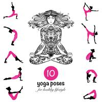 Yoga pose affiche de pictogrammes asanas composition vecteur