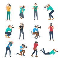 Ensemble d'avatars de photographe vecteur