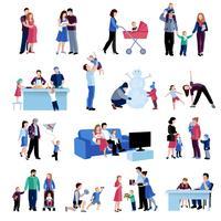 Ensemble d'icônes plat de situations de famille de la parentalité