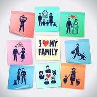 Famille autocollants ensemble vecteur