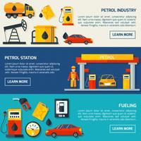 Ensemble de bannières plat station-service de gaz