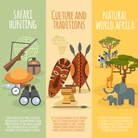 Jeu de bannières verticales plates de culture africaine vecteur