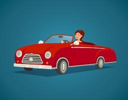 Illustration de conducteur de femme vecteur
